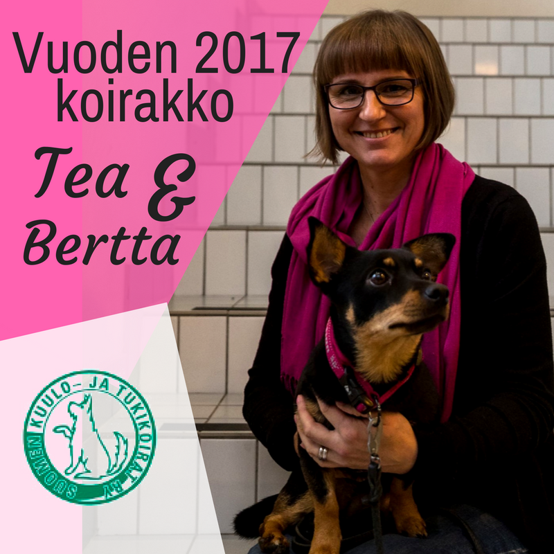 """Tea istuu portailla Bertta-koira sylissään. Vasemmassa reunassa lukee pinkillä taustalla: """"Vuoden 2017 koirakko Tea & Bertta"""". Valkoisella taustalla vasemmassa alanurkassa on yhdistyksen logo vihreällä"""