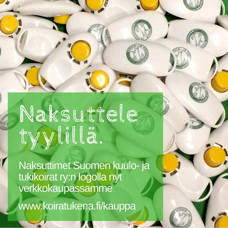 """mainos. Kuvassa paljon naksuttimia, edessä tekstilaatikko: """"Naksuttele tyylillä. Naksuttimet Suomen kuulo- ja tukikoirat ry:n logolla nyt verkkokaupassa"""""""